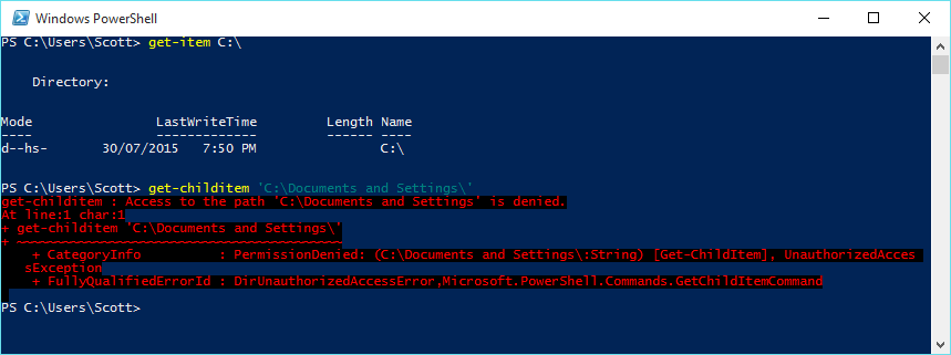 PowerShell Command Prompt on Windows 10